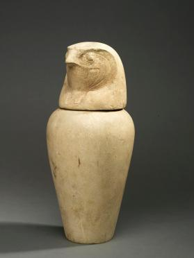 Canopic jar base (lid in the form of falcon head, Qebehsenuef)