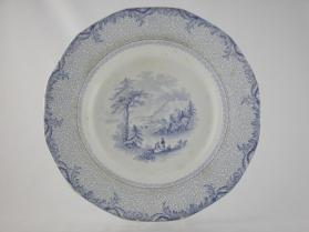 "Plate in ""British America"" pattern with scene ""Lily Lake, St. John's"""