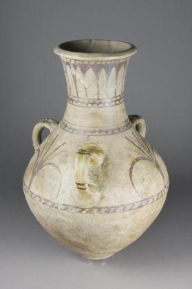 Three-handled decorated jar