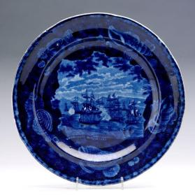 "Plate with scene ""Macdonough's Victory on Lake Champlain"""