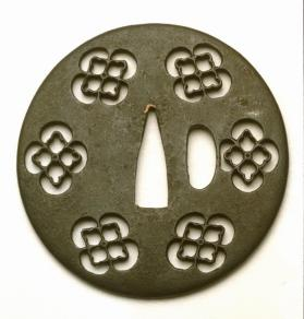 Tsuba (sword guard); decoration of openwork mokko