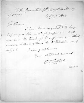 Autograph letter to The Committee of the Royal Academy of Music from Dr. William Crotch