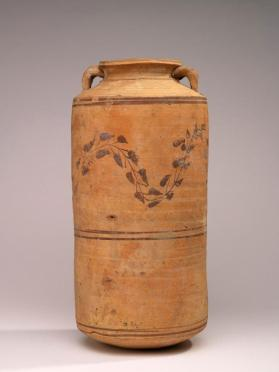 Cylindrical jar with two small handles