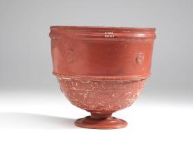 Arretine ware krater with ivy scroll and rosette motifs