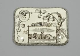 "Vegetable dish cover in ""The World"" pattern with University [College] Toronto scene"