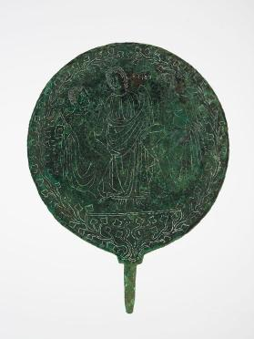 Mirror with three figures and ivy design