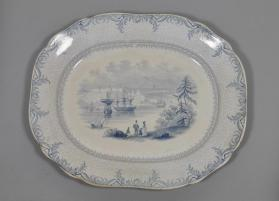 "Platter in ""British America"" pattern with scene ""Quebec from the opposite shore of the St. Laurence [sic]"""