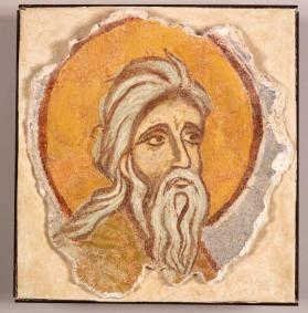 Fresco fragment of elderly male saint