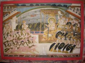 Maharaja Takhat Singh (r. 1843-1873) (?) in Durbar with Nobles and Warriors
