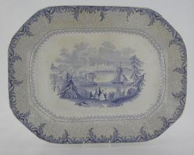 "Platter in ""British America"" pattern with scene, ""St. John & Portland (New Brunswick)"""