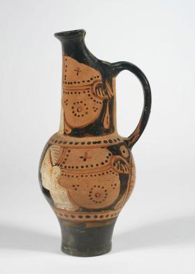 Etruscan red-figure beaked oinochoe with three women's heads