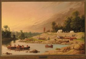 """Encampment, River Winepeg,"" Saulteaux and Hudson's Bay Company voyageurs"