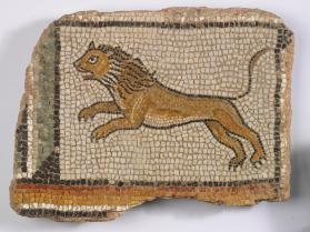 Floor mosaic fragment with lion