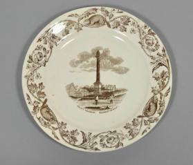 "Plate in ""Quebec"" pattern with scene ""Wolfe's Monument"""