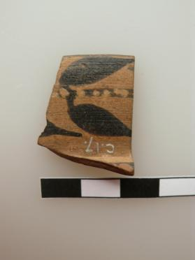 Rim fragment of an East Greek 'little' master cup decorated with a band of myrtle leaves