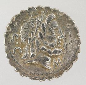 Serrate denarius coin with laureate head of Jupiter