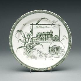 "Plate in ""The World"" pattern with scene of the Lieutenant-Governor's Residence, Toronto, and Customhouse, Boston"