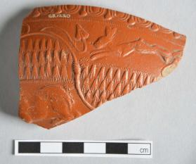 Fragment of a Samian ware bowl with rabbit, lioness, and leaf motifs