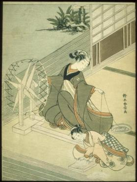 Young woman spinning thread