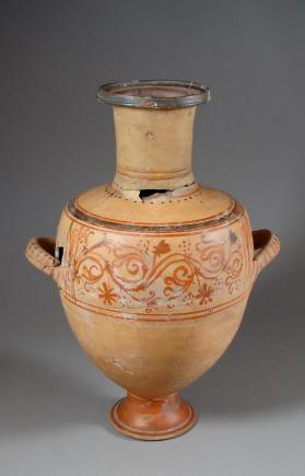 Hydria with belly frieze of scrollwork, half-palmettes, and flowers