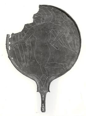 Mirror with winged Lasa wearing necklace and earrings holding an alabastron