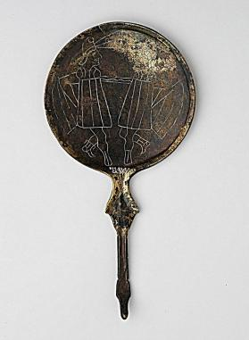 Mirror with ram's head handle
