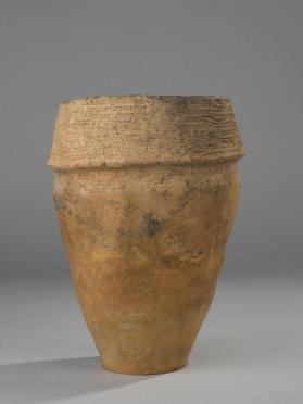 "Collared urn with ""whipped cord"" and fingernail impressed patterns"