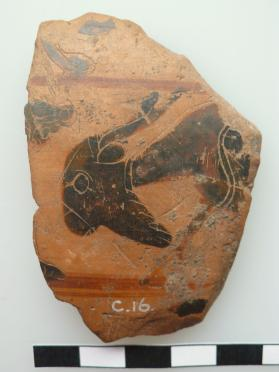 Fragment of an Attic black-figure wine bowl showing animals