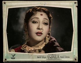 "Lobby card of Mala Sinha in the film ""Ujala"" (Brightness)"