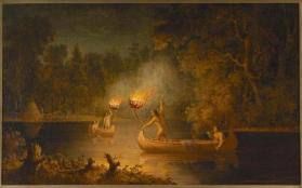 """Fishing by Torch Light,"" Menominee"