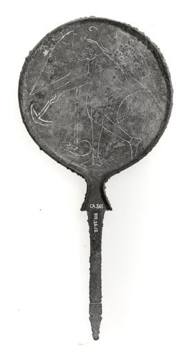 Mirror with winged Pallas and ram's head handle