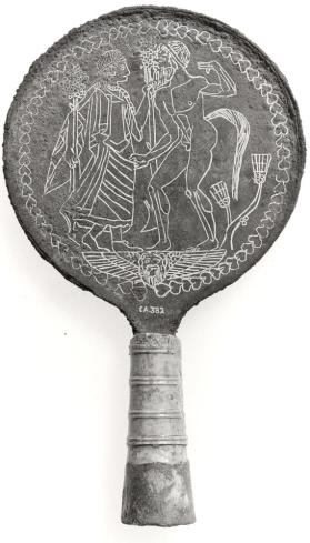 Mirror with Satyr and Maenad