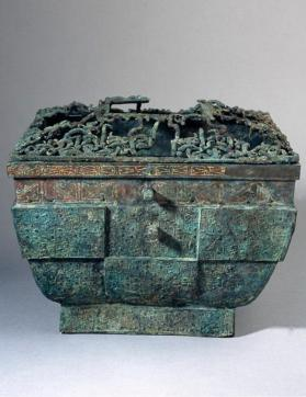 """Fang Jian"" wine heating or cooling vessel with openwork cover"