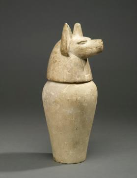 Canopic jar base (lid in the form of a jackal head, Duamutef)