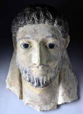 Lime plaster mask of a mummy, male